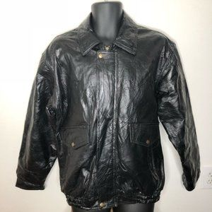 LEATHER KING Motorcycle Bomber Jacket L